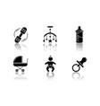 baby care service drop shadow black glyph icons vector image vector image