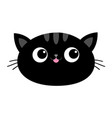 black cat head face oval icon with big eyes pink vector image vector image