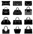 Black icons female bags vector