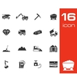 black mining icons set vector image vector image