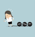 businesswoman dragging chains and big ball vector image vector image