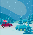 car with christmas gift box vector image vector image