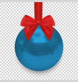 christmas ball with ribbon and a bow isolated vector image
