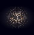 christmas bells golden sign jingle bells with vector image