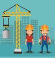 couple builders characters working vector image