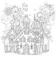 cute fairy tale town doodle vector image vector image