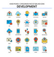 development flat line icon set - business concept vector image