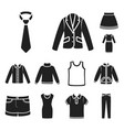 different kinds of clothes black icons in set vector image vector image