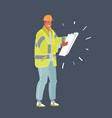 engineer man in orange helmet plan building vector image