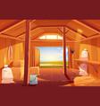 farm barn house inside view empty ranch interior vector image