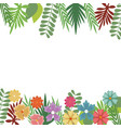 flowers foliate border with leaves blossom garden vector image vector image