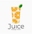 fresh juice logo orange juice glass on white vector image