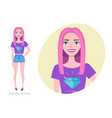 girl teenager in fashionable clothes ultra violet vector image