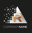 golden letter r logo in silver pixel triangle vector image