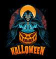 halloween with pumpkin and grim reaper grim vector image