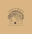 hand drawn home house with garden logo icon vector image vector image