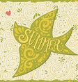 Hand drawn summer print with a bird and hand vector image vector image