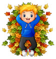 happy little boy playing with autumn leaves vector image vector image