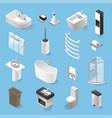 isometric bathroom elements set isolated vector image vector image