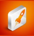 isometric rocket ship with fire icon isolated on vector image vector image