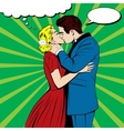Kissing couple in pop art comics style
