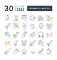 line icons international music day vector image vector image