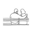 man and his transparent dashed line lover sitting vector image