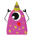 pink and yellow one-eyed party monster with a vector image