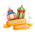 Ramadan Kareem greeting with illuminated lamp vector image