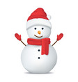 realistic detailed 3d happy snowman in hat vector image vector image