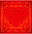red valentines day background card with flowers vector image vector image