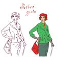 retro girls vector image vector image