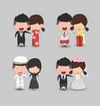 set cute cartoon wedding couple men and women vector image vector image