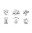 set of monochrome logotypes with pizza slices and vector image vector image