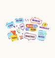 set stickers or icons in doodle linear style vector image vector image