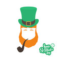 silhouette of irishman head with ginger beard hat vector image vector image