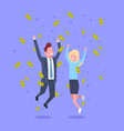 successful business man and woman jump throwing vector image