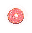 sugar donut with pink glaze donut icon vector image