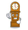 thumbs up grandfather clock character cartoon vector image vector image