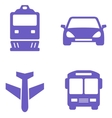 transport icon set with train plane car and bus vector image