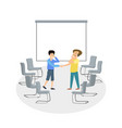 two men shake handes with business background vector image vector image