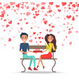valentine couple with present on bench vector image vector image