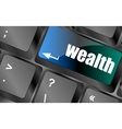 wealth word on computer keyboard key vector image vector image