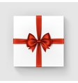 white square gift box with red bow and ribbon vector image vector image