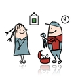 Woman and repairman sketch for your design vector image