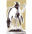 woodcut style death on horse vector image vector image