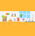 zero waste eco friendly kitchen interior banner vector image