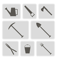 monochrome icons with horticultural tools vector image