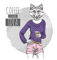 retro hipster fashion animal fox with coffee vector image