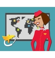 Stewardess welcomes aboard aircompany vector image
